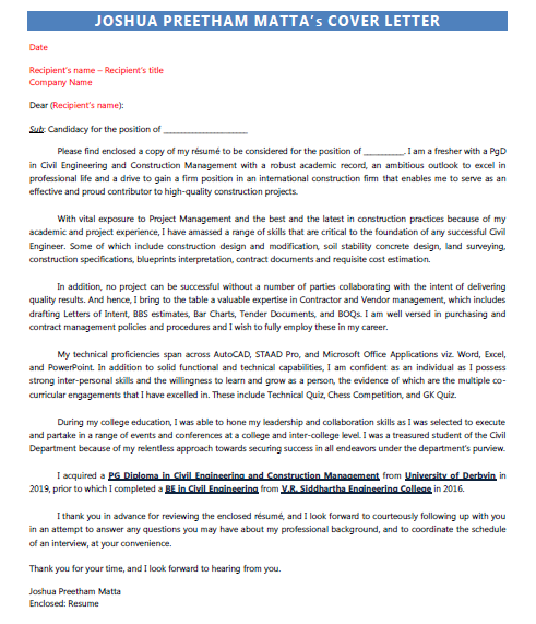 Cover Letter Answering Specific Questions from resumod.in