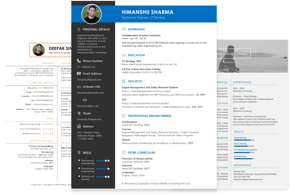 Resumod Automated Online Cv Builder Professional Resume Maker