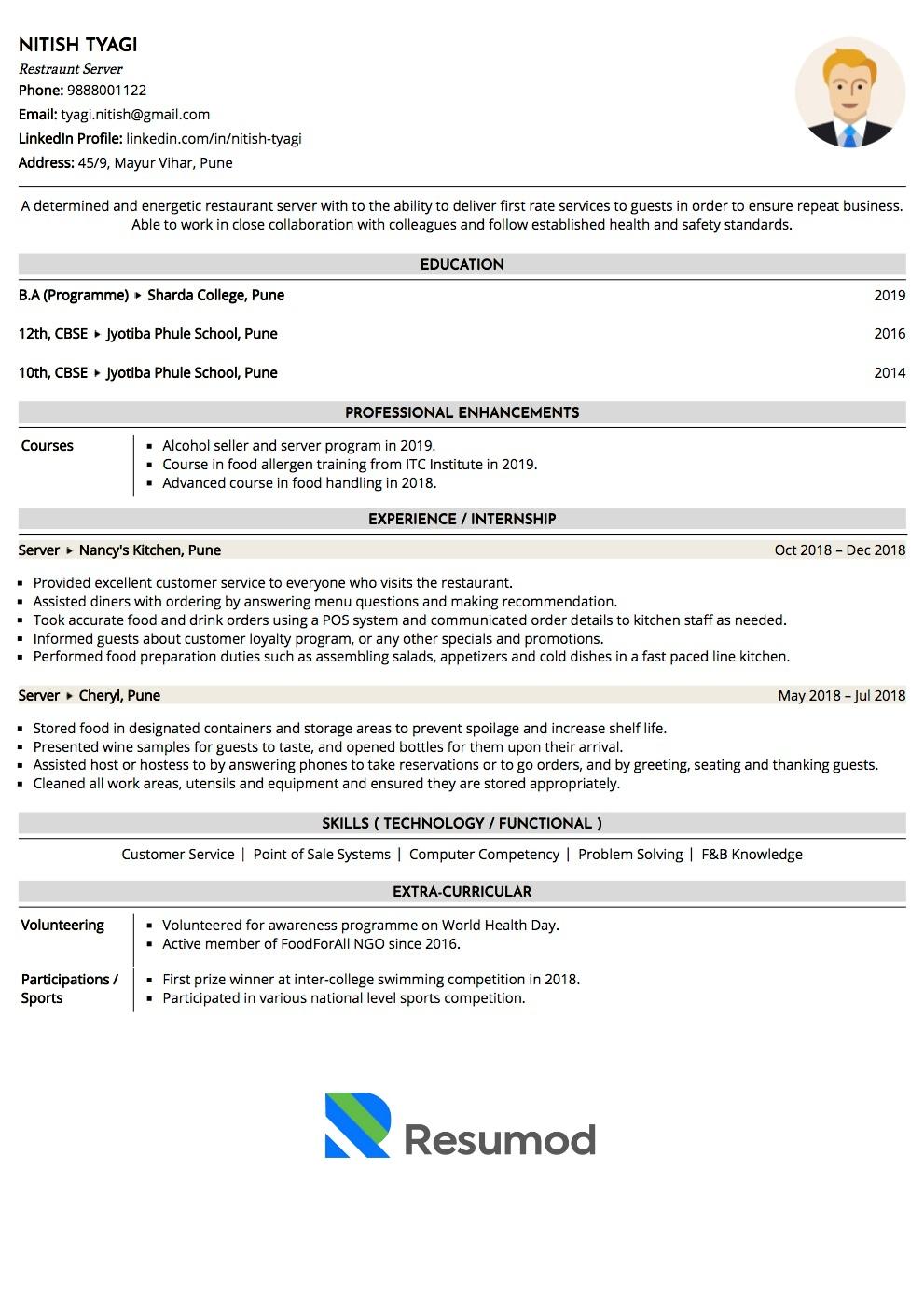 Resume Of Server