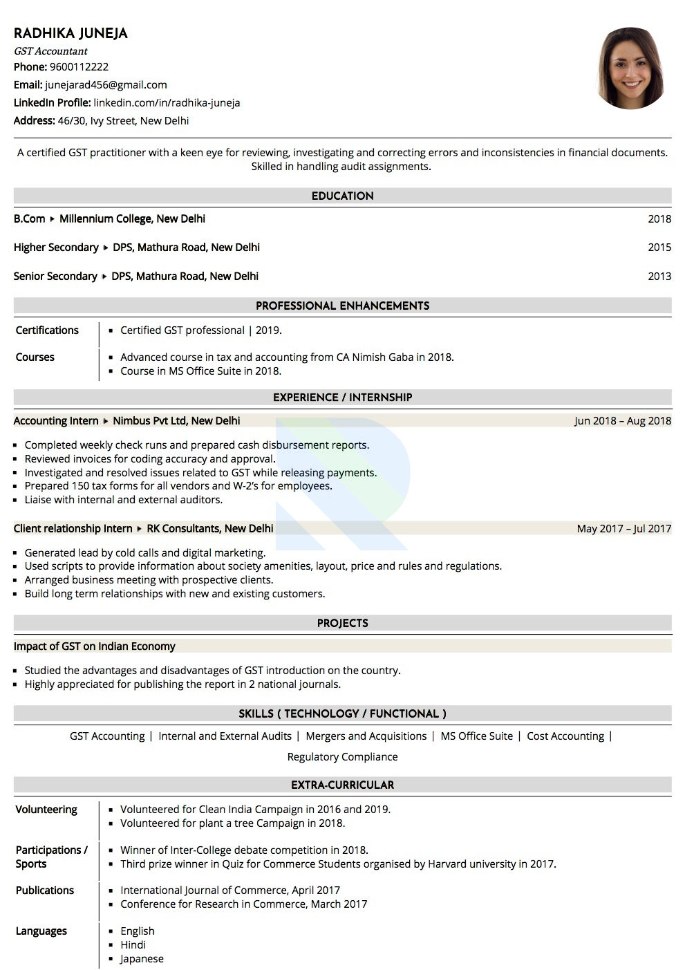 Resume Of Gst Accountant