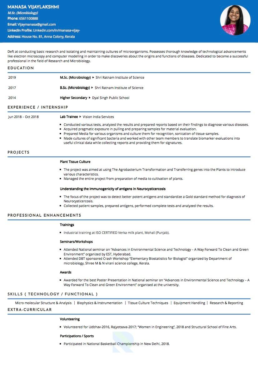 resume format for bsc chemistry freshers  best resume